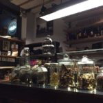 view of counter with jars of chocolate