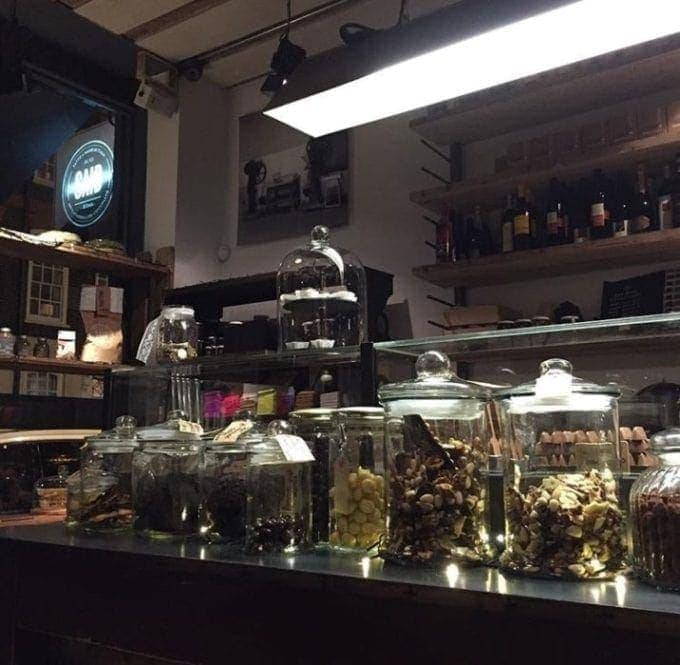 counter with jars of assorted chocolates
