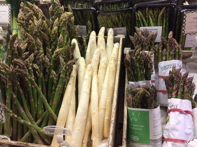 fresh asparagus on display in store