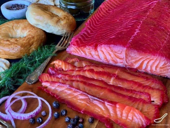 salmon partially sliced