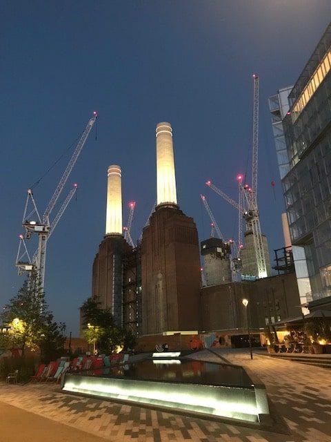 view of Battersea power station under redevelopment