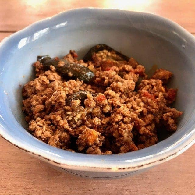 mince in a small blue bowl