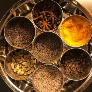 Box of colourful Indian spices