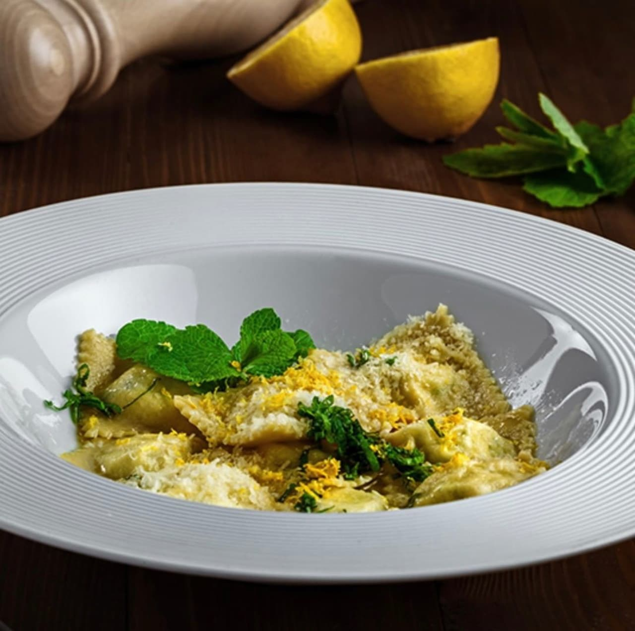 white plate with cooked ravioli
