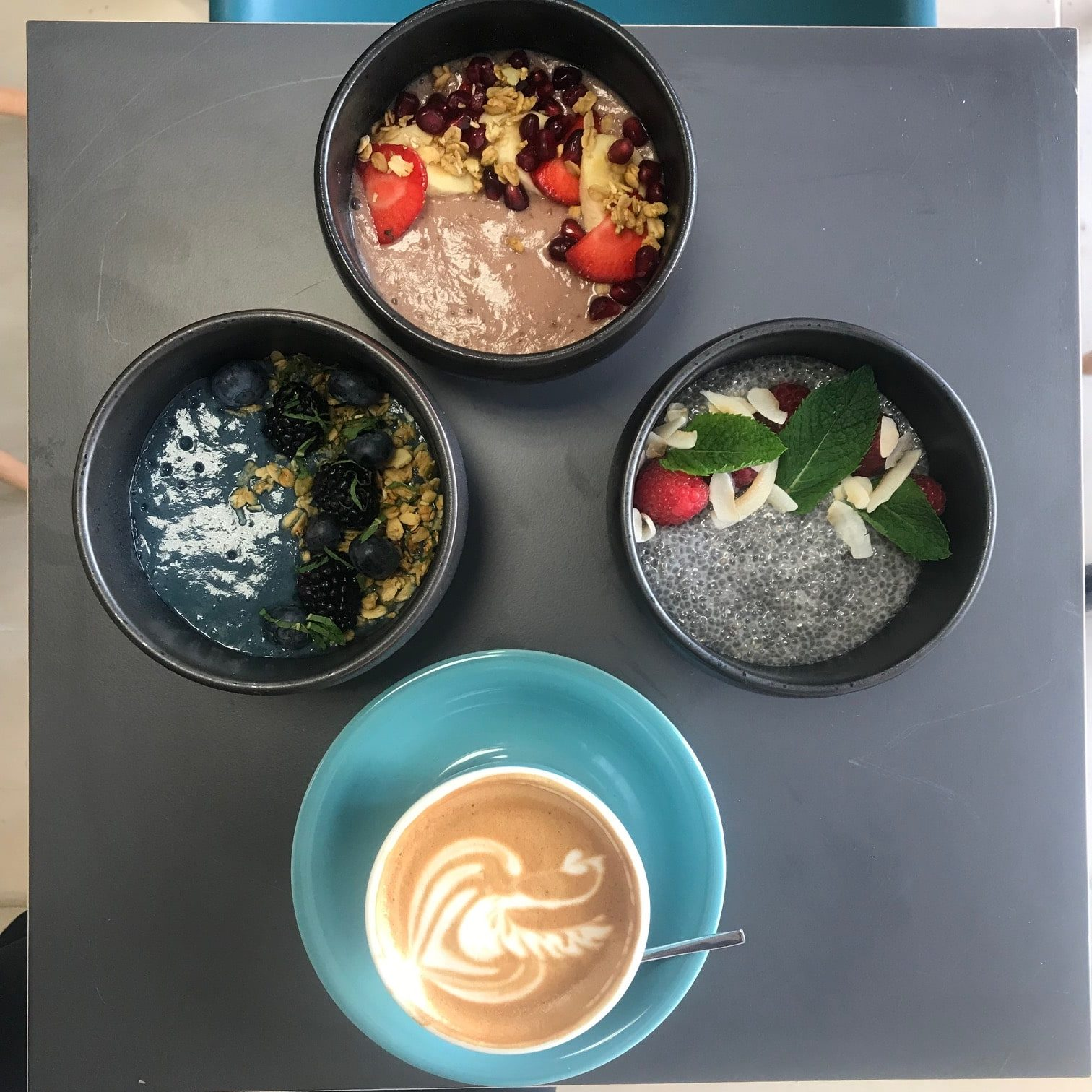 three vegan bowls with cup of coffee
