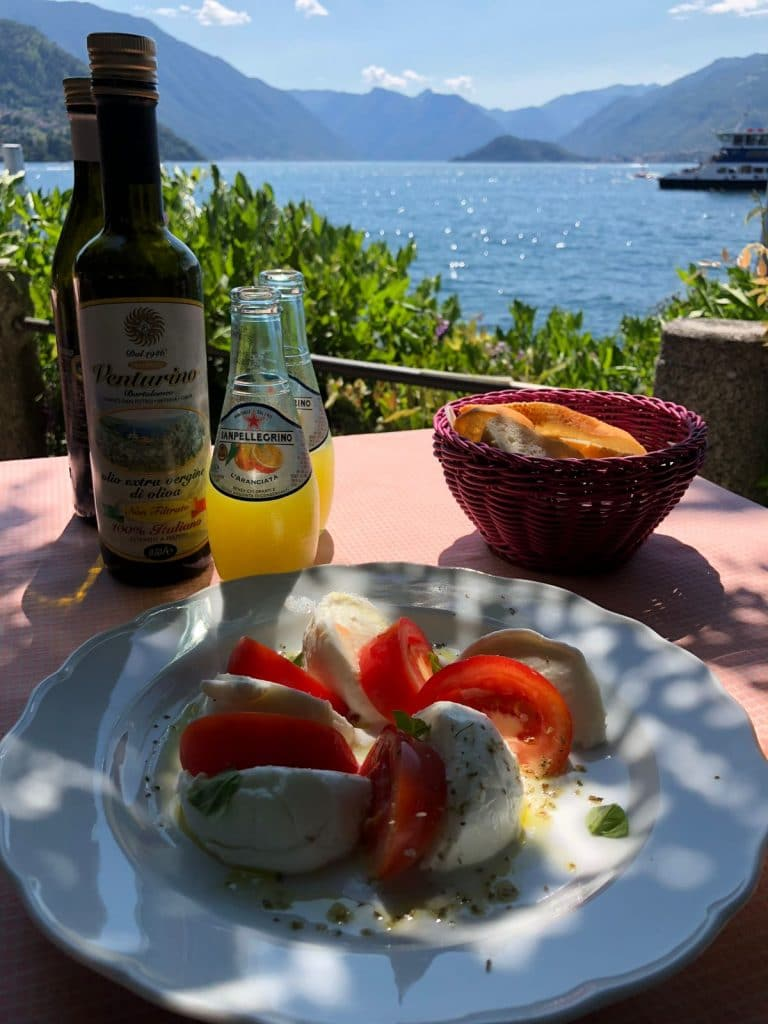Plate of food with a view of lake