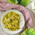 Image of bowl of braised savoy cabbage.